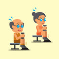 Cartoon senior man and woman doing dumbbell seated calf raise exercise Royalty Free Stock Photo