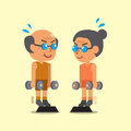 Cartoon senior man and woman doing standing dumbbell calf raise exercise Royalty Free Stock Photo