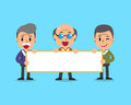Cartoon senior men holding board for presentation Royalty Free Stock Photo