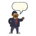 Cartoon sensible business man in bowler hat with speech bubble Stock Photo