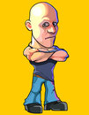 Cartoon serious bald man standing with arms crossed on chest
