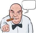 Cartoon serious boss with speech bubble