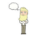 cartoon serious man with beard with thought bubble Royalty Free Stock Photo