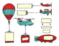 Cartoon set of air vehicles with banners advertising flying aircrafts and Royalty Free Stock Image