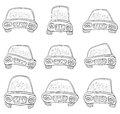 Cartoon set cars contours various monochrome on white background vector Royalty Free Stock Photos