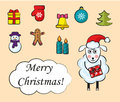 Cartoon set of Christmas icons Royalty Free Stock Photo