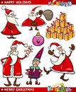 Cartoon Set of Christmas Themes Stock Photos