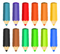 Cartoon set of colored wood pencils Royalty Free Stock Photography