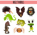 Cartoon Set of Cute Animals insectivores living in different parts of the world forests and tropical jungle .A bat, a lizard, hedg