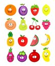 Cartoon set of different fruits. Peach, lemon, watermelon, che