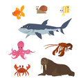 Cartoon set: goldfish snail shark fish butterfly octopus crab walrus lobster. Royalty Free Stock Photo