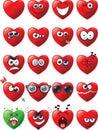 Cartoon set of heart emoticons