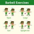 Cartoon set of man doing barbell exercise step for health and fitness Royalty Free Stock Photo