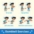 Cartoon set of a man doing dumbbell exercise step for health and fitness Royalty Free Stock Photo