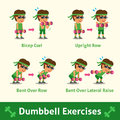 Cartoon set of man doing dumbbell exercise step for health and fitness Royalty Free Stock Photo