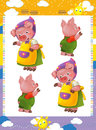 Cartoon set of medieval animal characters family of pigs - searching and joining pairs game
