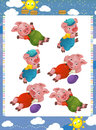 Cartoon set of medieval animal characters young goats - searching and joining pairs game