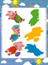 Cartoon set of medieval animal characters young pigs - searching game with shadows