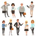 Cartoon set of office managers and workers in different situations. Business people. Men and women characters in casual