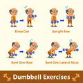 Cartoon set of old man doing dumbbell exercise step for health and fitness Royalty Free Stock Photo
