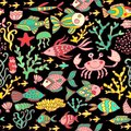 Cartoon set with sea live vector set colorful sea animals sea world seamless pattern under water world wallpaper with fish oc Royalty Free Stock Images