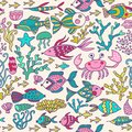 Cartoon set with sea live vector set colorful sea animals sea world seamless pattern under water world wallpaper with fish oc Royalty Free Stock Photo