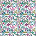 Cartoon set with sea live vector set colorful sea animals sea world seamless pattern under water world wallpaper with fish oc Royalty Free Stock Photos