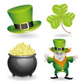 Cartoon set st patricks day on white background Stock Image