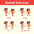 Cartoon set of woman doing barbell exercise step for health and fitness Royalty Free Stock Photo