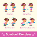 Cartoon set of a woman doing dumbbell exercise step for health and fitness Royalty Free Stock Photo