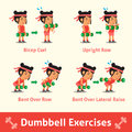 Cartoon set of woman doing dumbbell exercise step for health and fitness Royalty Free Stock Photo