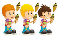Cartoon set of young boys with ice cream