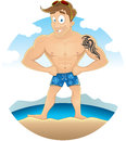 Cartoon sexy beach guy with tribal tattoo on his bicep standing at the Stock Image