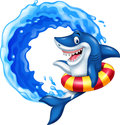 Cartoon shark with inflatable ring Royalty Free Stock Photo