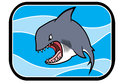 Cartoon shark in ocean illustration of a animated blue Royalty Free Stock Photos