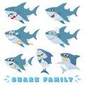 Cartoon sharks family. Newborn baby shark, comic marine father and cheerful mother sharks characters vector illustration