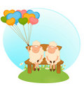 Cartoon sheep with balloons Royalty Free Stock Photos