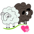 Cartoon sheep in love.valentine  card Royalty Free Stock Photo