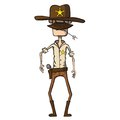 Cartoon sheriff with revolver wild west vector illustration this is file of eps format Stock Image