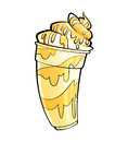 Cartoon shiny banana vanilla milkshake with syrup and cream glossy sundae topping whipped on glass Royalty Free Stock Images