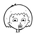 Cartoon shocked expression black and white line in retro style vector available Royalty Free Stock Photos