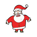 Cartoon shocked santa claus hand drawn illustration in retro style vector available Stock Images