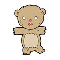 Cartoon shocked teddy bear hand drawn illustration in retro style vector available Royalty Free Stock Photo