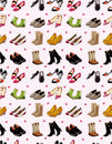 Cartoon shoes set seamless pattern Royalty Free Stock Photos