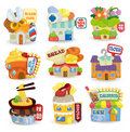 Cartoon shop building icon set Stock Photography