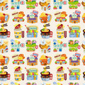 Cartoon shop ,seamless pattern Stock Photos