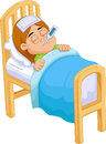 Cartoon Sick girl in bed Royalty Free Stock Photo