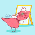 Cartoon sick liver look mirror
