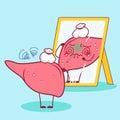Cartoon sick liver look mirror