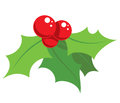 Cartoon simple mistletoe decorative ornament red and green Stock Photos